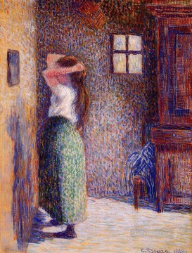 oil Works - young peasant at her toilette 1888 Camille Pissarro